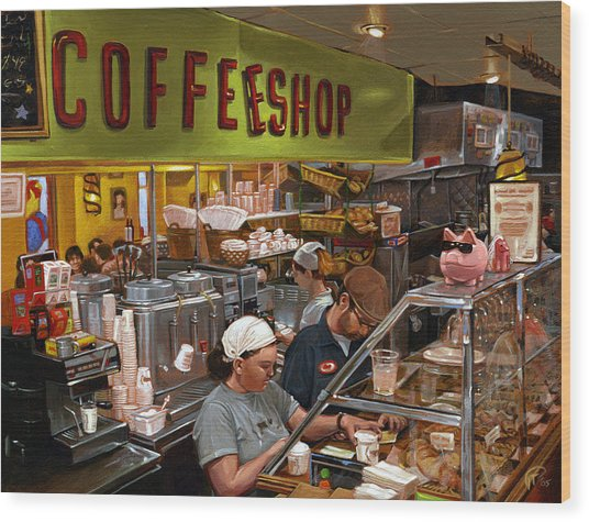 Coffee Shop Wood Print by Ted Papoulas