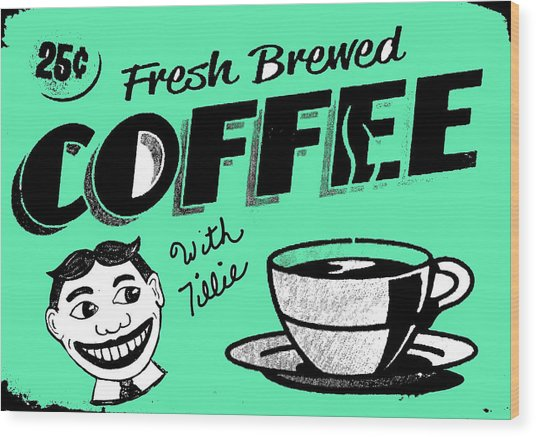 Coffee With Tillie Wood Print