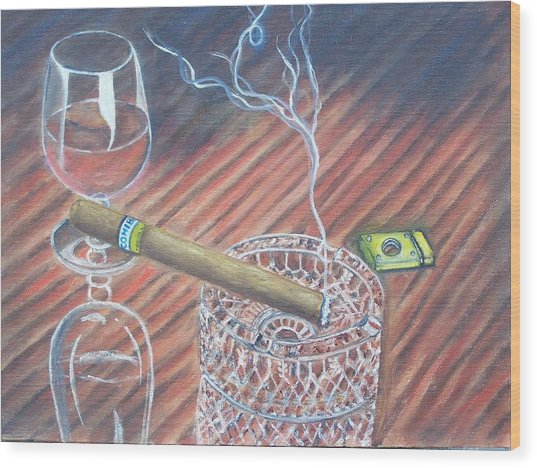 Cohiba And  Wine Wood Print by Charles Vaughn