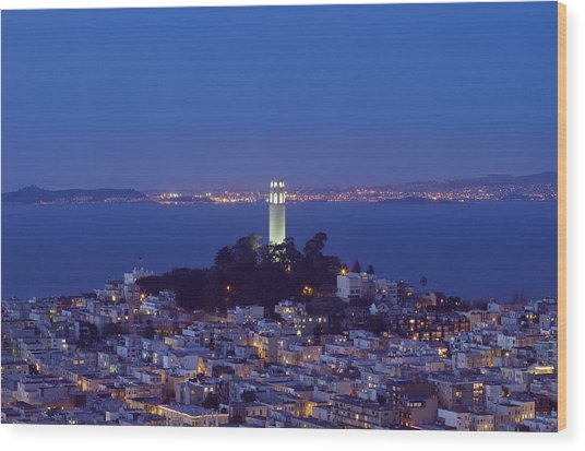 Coit Tower At Dusk San Francisco California Wood Print by Carol M Highsmith