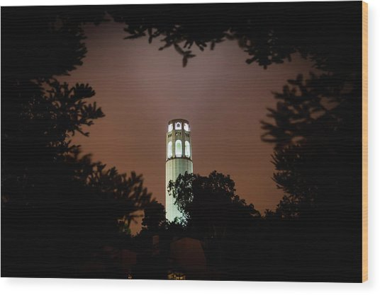 Coit Tower Through The Trees Wood Print