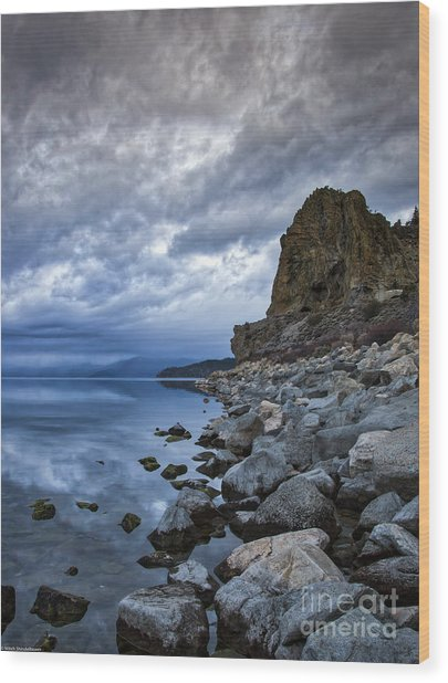 Cold Blue Cave Rock Wood Print