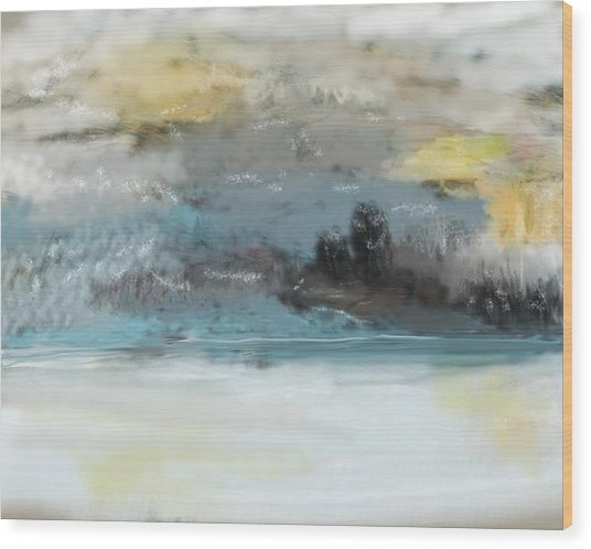 Cold Day Lakeside Abstract Landscape Wood Print