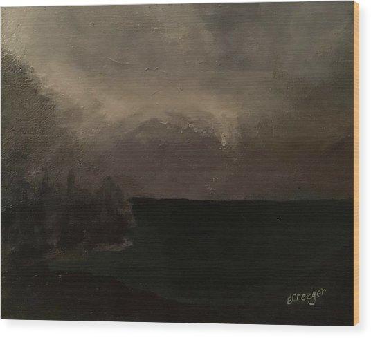 Cold Fog And Sea Wood Print