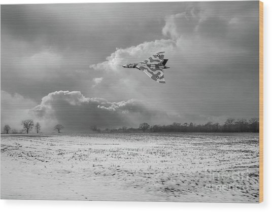 Wood Print featuring the photograph Cold War Warrior Bw Version by Gary Eason
