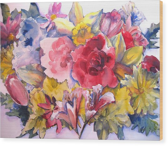 Collage Of Flowers Wood Print by Joyce Kanyuk