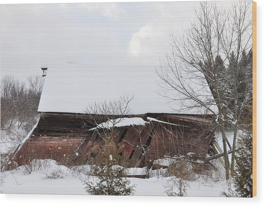 Collapsing Barn Near Saratoga Battlefield Wood Print
