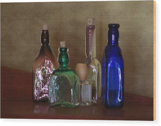 Collection Of Vintage Bottles Photograph Wood Print