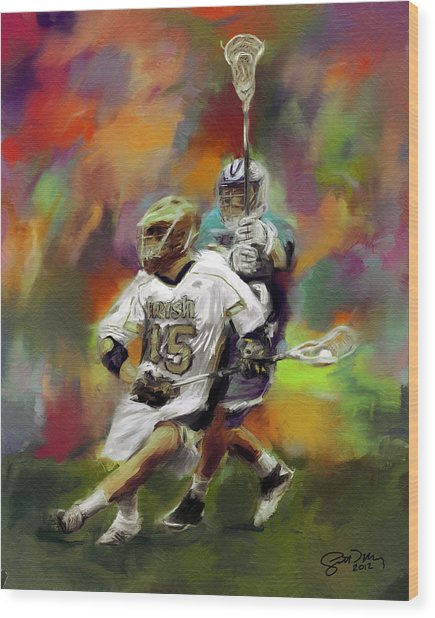 College Lacrosse 13 Wood Print by Scott Melby