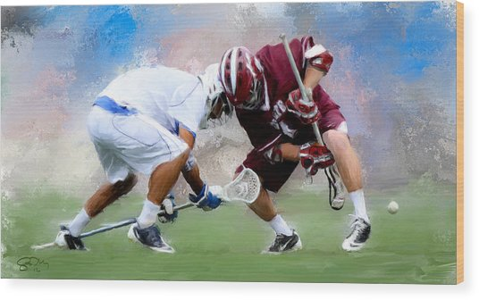 College Lacrosse Faceoff 4 Wood Print by Scott Melby