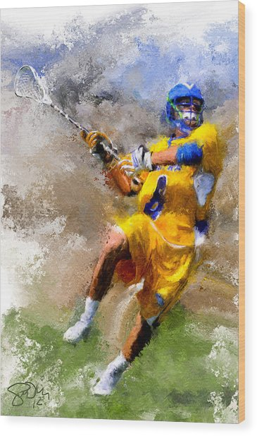 College Lacrosse Shot Wood Print by Scott Melby