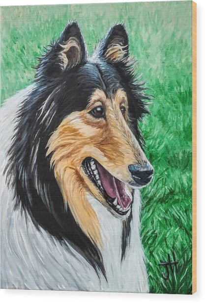 Wood Print featuring the painting Collie by Jennifer Hotai