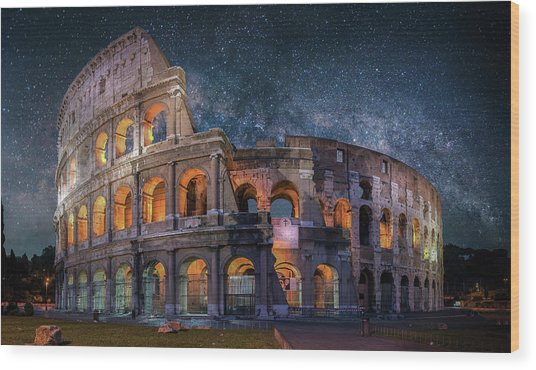 Colloseum Under The Stars Wood Print by Brent Shavnore