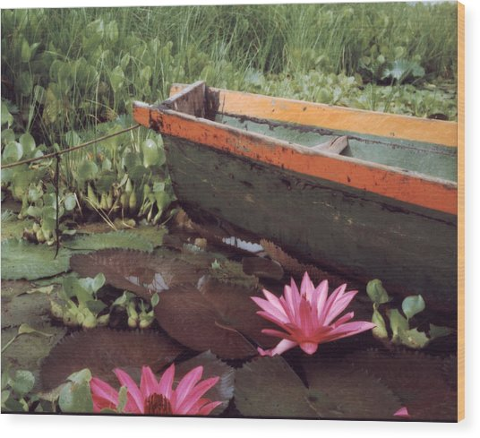 Colombian Boat And Flowers Wood Print by Lawrence Costales