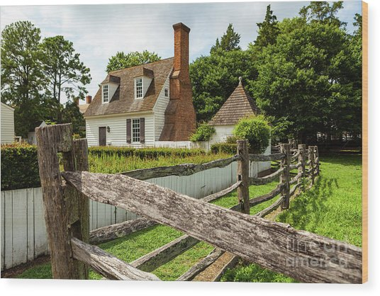 Colonial America House Wood Print
