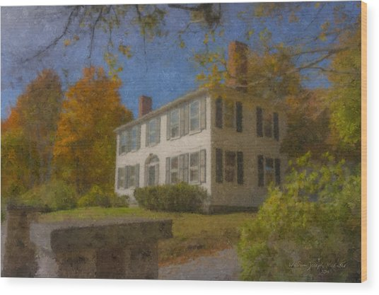 Colonial House On Main Street, Easton Wood Print