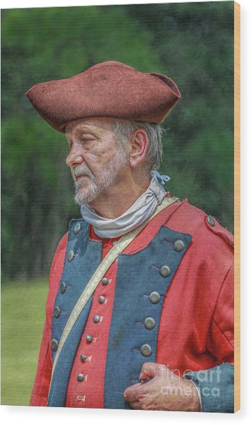 Colonial Soldier Portrait Wood Print by Randy Steele