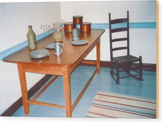 Colonial Table Wood Print by Andrea Simon