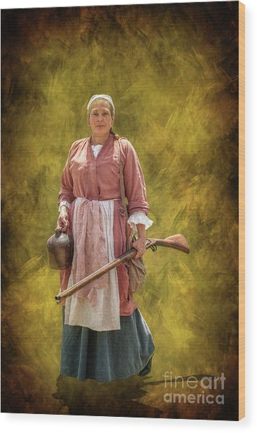 Colonial Woman With Rifle Wood Print