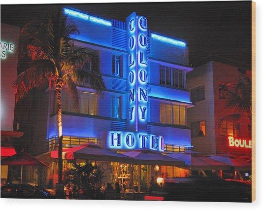 Colony Hotel On Ocean Drive Wood Print