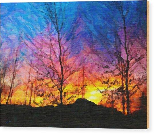 Color Burn Wood Print