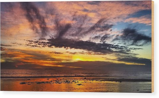 Color Burst Malibu Sunset Wood Print