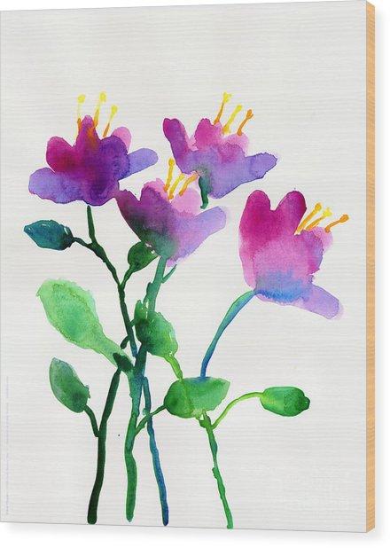 Color Flowers Wood Print