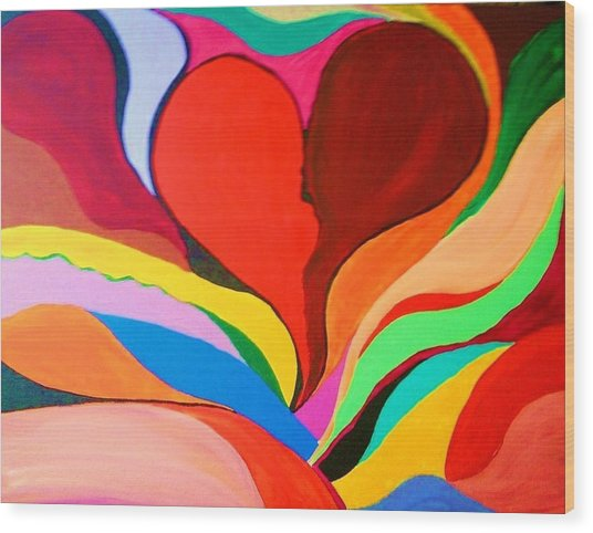 Color Mine With Love Wood Print by Charles  Jennison