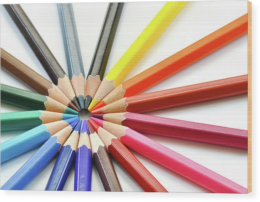 Color Pencils Wood Print