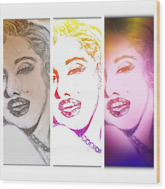 Color Rendition Of Marilyn Monroe #3 Wood Print