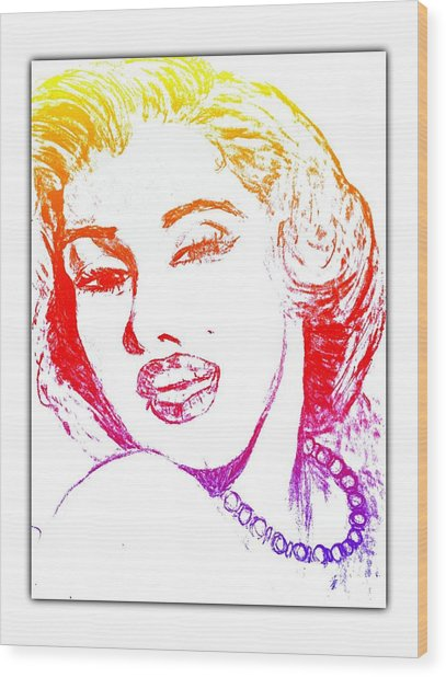 Color Rendition Of Marilyn Monroe Wood Print