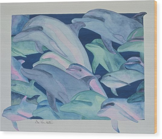 Dolphin Color Rhythms Wood Print