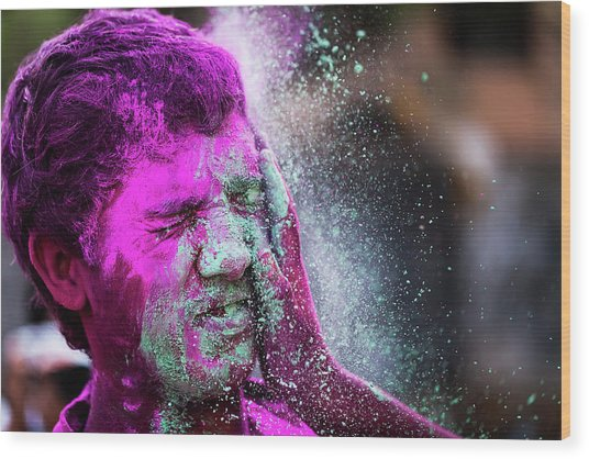 Color Splash During Holi Festival, India Wood Print