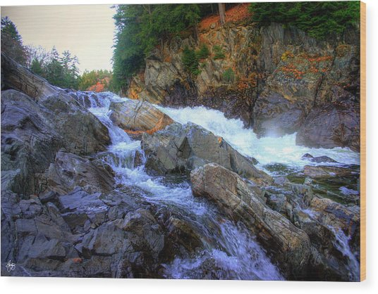 Color Steps At Livermore Falls Wood Print