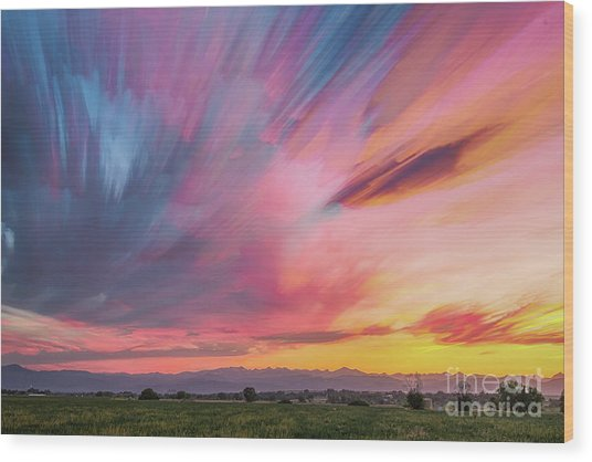 Colorado Front Range Crazy Sunset Timed Stack Wood Print by James BO Insogna