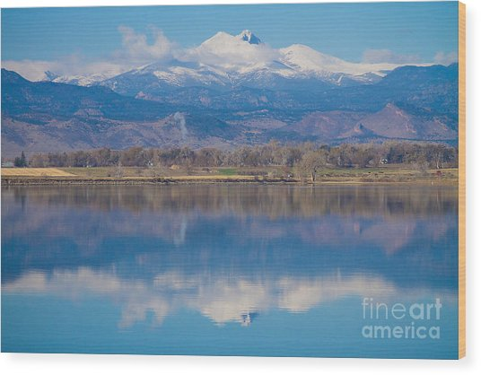 Colorado Longs Peak Circling Clouds Reflection Wood Print