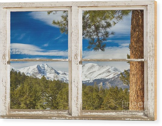 Colorado Rocky Mountain Rustic Window View Wood Print