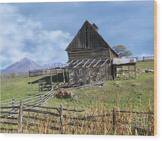 Colorado Rocky Mountain Vintage Barn   Wood Print