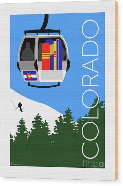 Colorado Ski Country Blue Wood Print