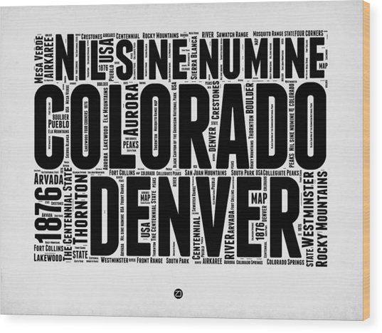 Colorado Word Cloud Map 2 Wood Print