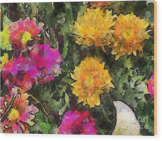 Colored Flowers Wood Print