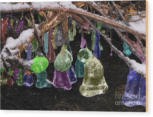 Colored Ice Bells Wood Print