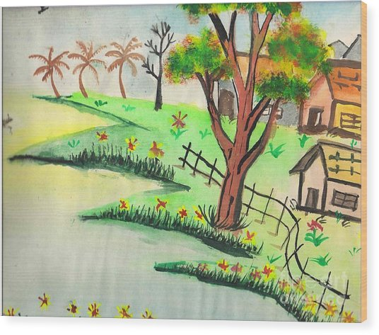 Colored Landscape Wood Print by Tanmay Singh