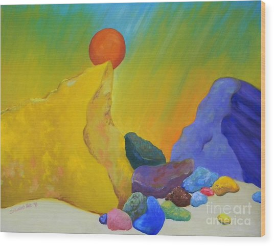 Colored Rocks In Sand Wood Print by Emily Michaud