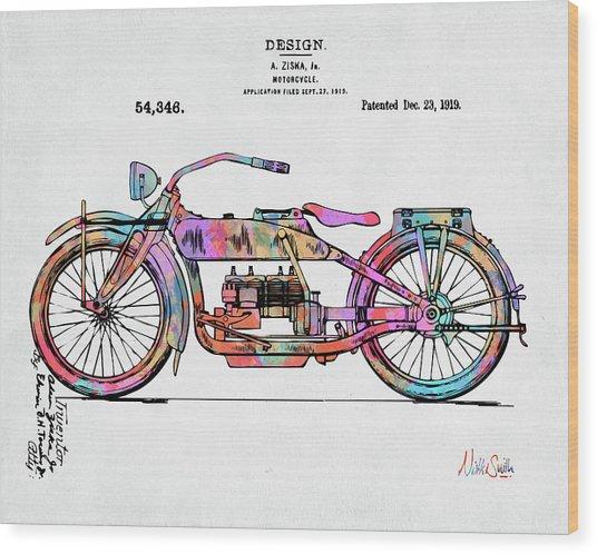 Colorful 1919 Harley-davidson Motorcycle Patent Wood Print