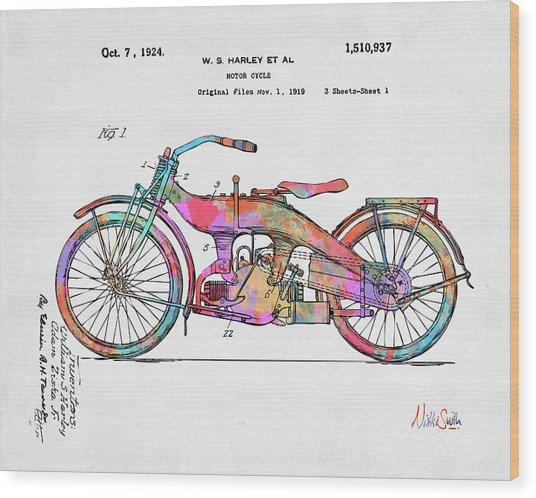 Colorful 1924 Harley Motorcycle Patent Artwork Wood Print