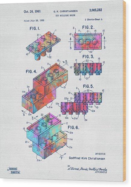Colorful 1961 Toy Building Brick Patent Art Wood Print