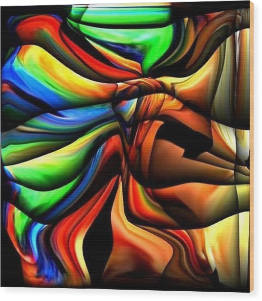 Colorful Abstract1 Wood Print by Teo Alfonso