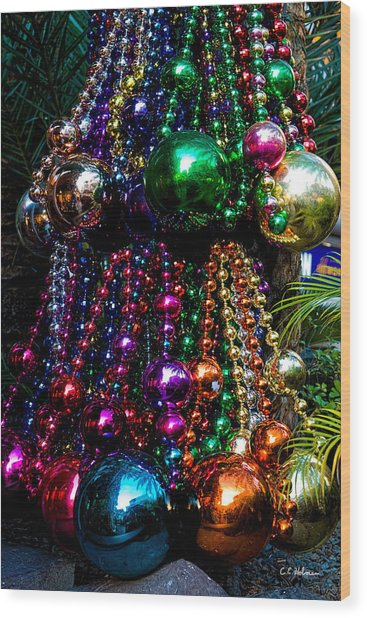 Colorful Baubles Wood Print