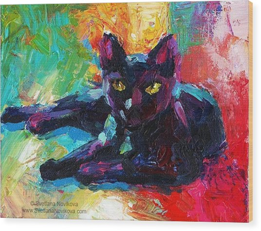 Colorful Black Cat Painting By Svetlana Wood Print
